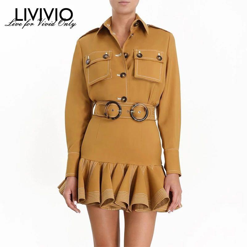 For RentFor Rent. Two Piece Matching Sets Long Sleeve Single Breasted Ja bc ket Tops Women Belt Ruffle Mini Skirt
