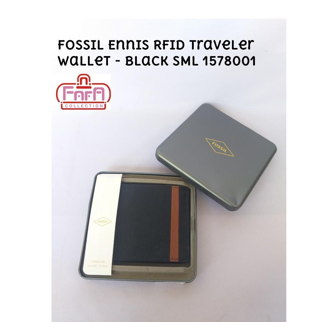 Fossil Ennis RFID Traveler Wallet  Black SML 1578001