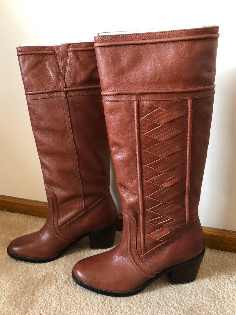 Fossil Women's Woven Weave Felicia Mid Heel Leather knee high boots. AU Size 9
