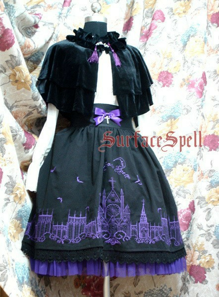 Gothic Moonlight Cathedral Embroidery Lolita Skirt