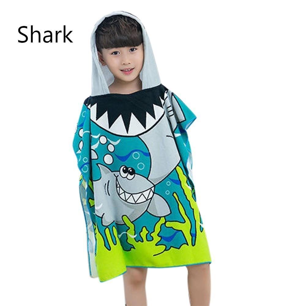 Kids Towel  Poncho Hooded Beach Towel Boys Girls Cartoon