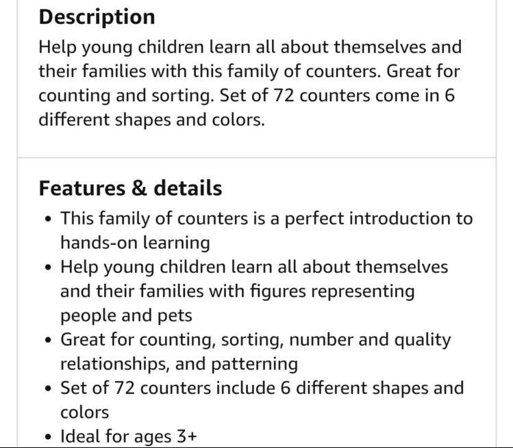 Learning resources all about me family counters doll house preschool homeschool toddler toys open ended montessori Reggio Christmas birthday
