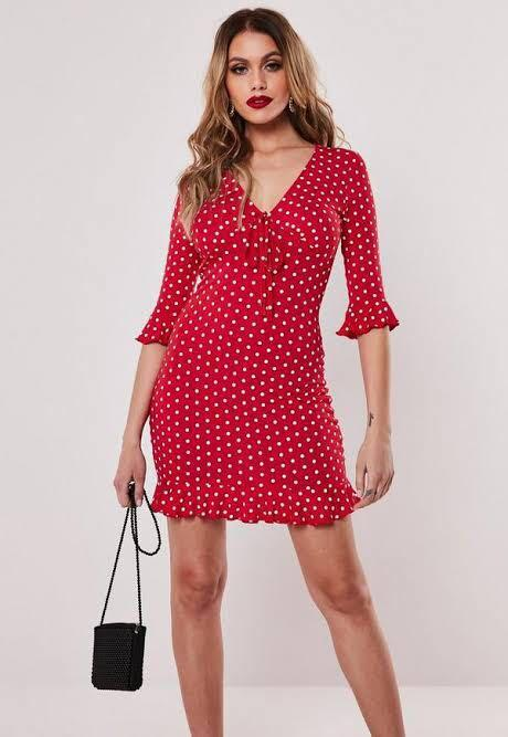 Missguided Red Polka Dot Summer Jersey Frill Dress (Size 6)