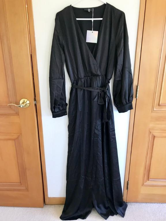 MISSGUIDED satin wrap maxi dress