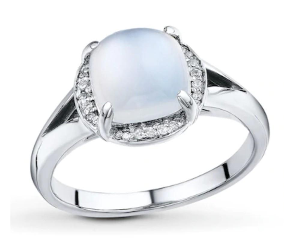 Moonstone Ring 1/20 ct tw Diamonds Sterling Silver