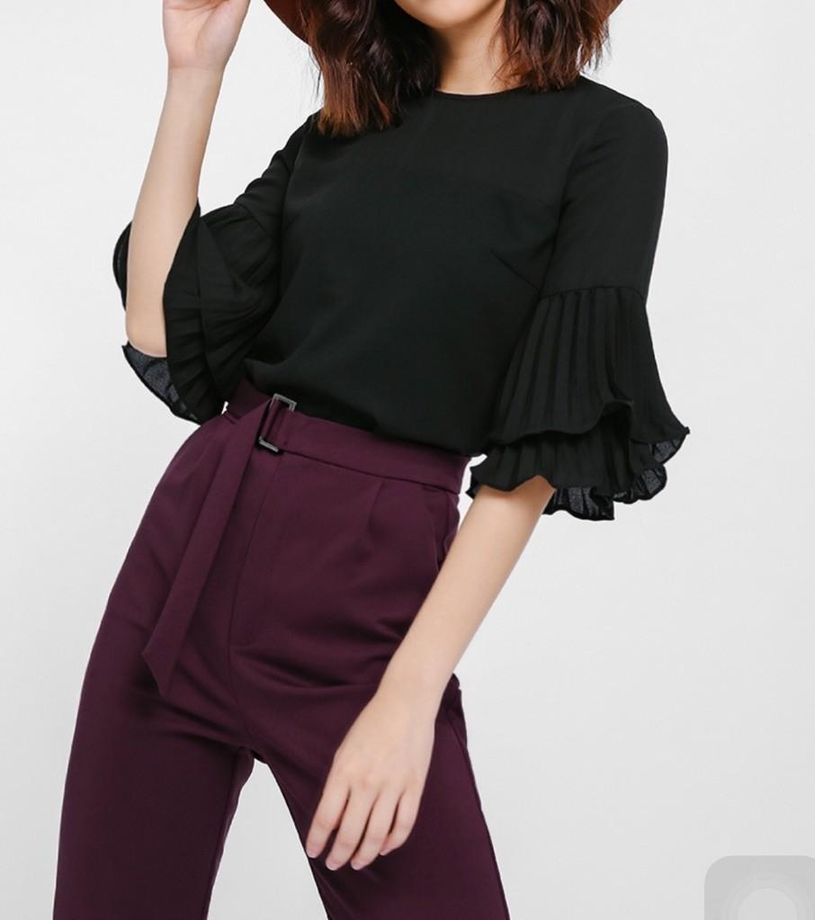 NEW* Love Bonito Adanya Pleated Layer Sleeve Top