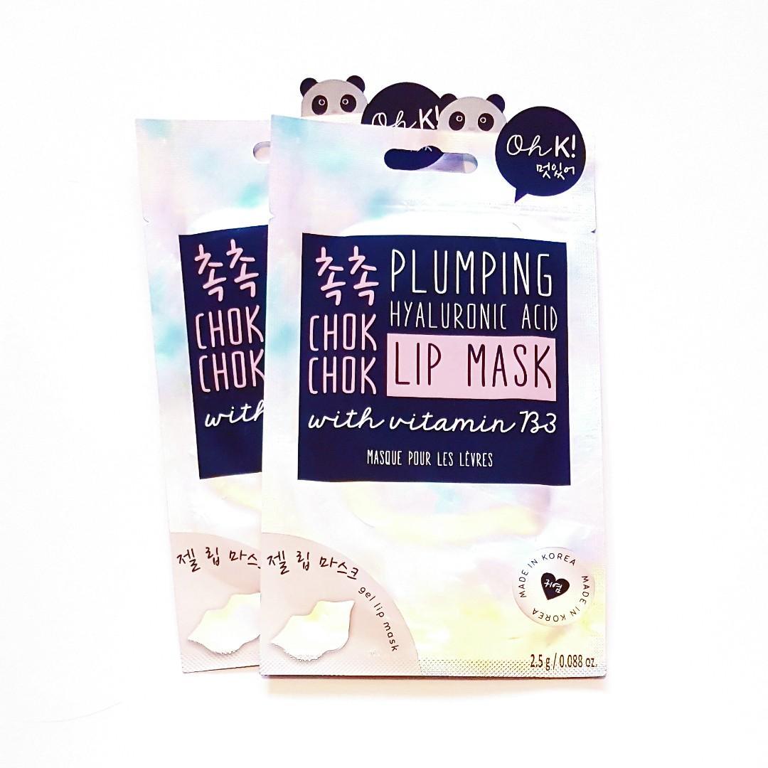 Oh K! Life Chok Chok Plumping Hyaluronic Acid All Skin Types Korean Hydrating Nourishing With Vitamin B3 Gel Masque Facial Lip Mask
