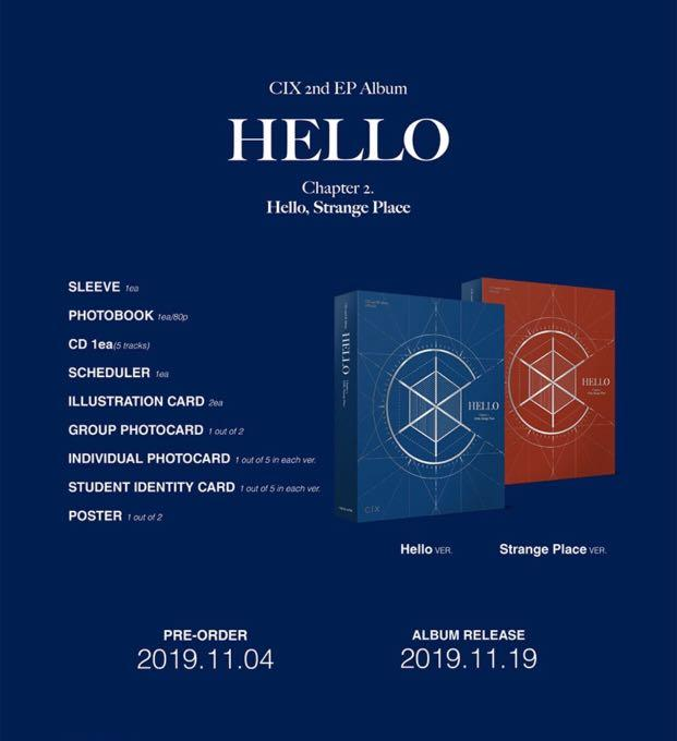 [PREORDER] CIX 2nd Mini Album - 'HELLO' CHAPTER 2. [ HELLO STRANGE PLACE ]