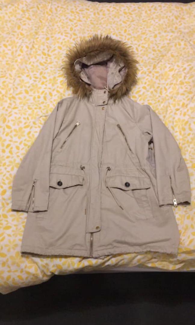 Pull&Bear Large Beige Winter Coat Parka
