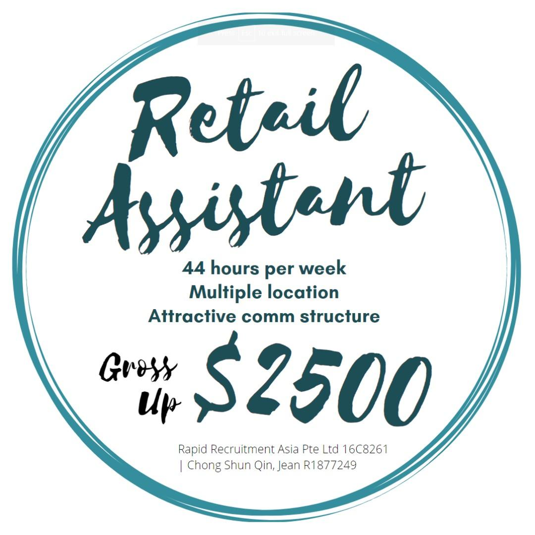 Retail Assistant (Gross $2500 /Islandwide) - JQ