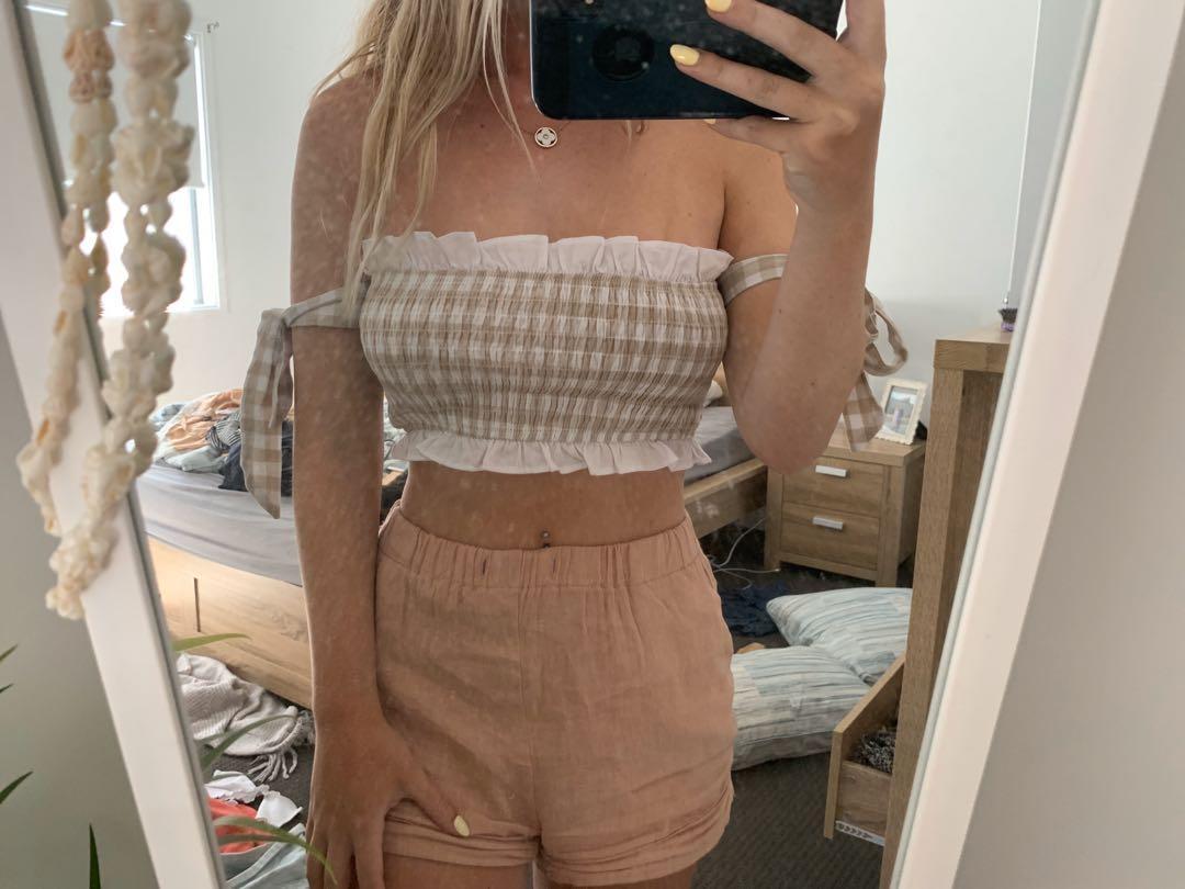Sabo Skirt Gignham Tie Top