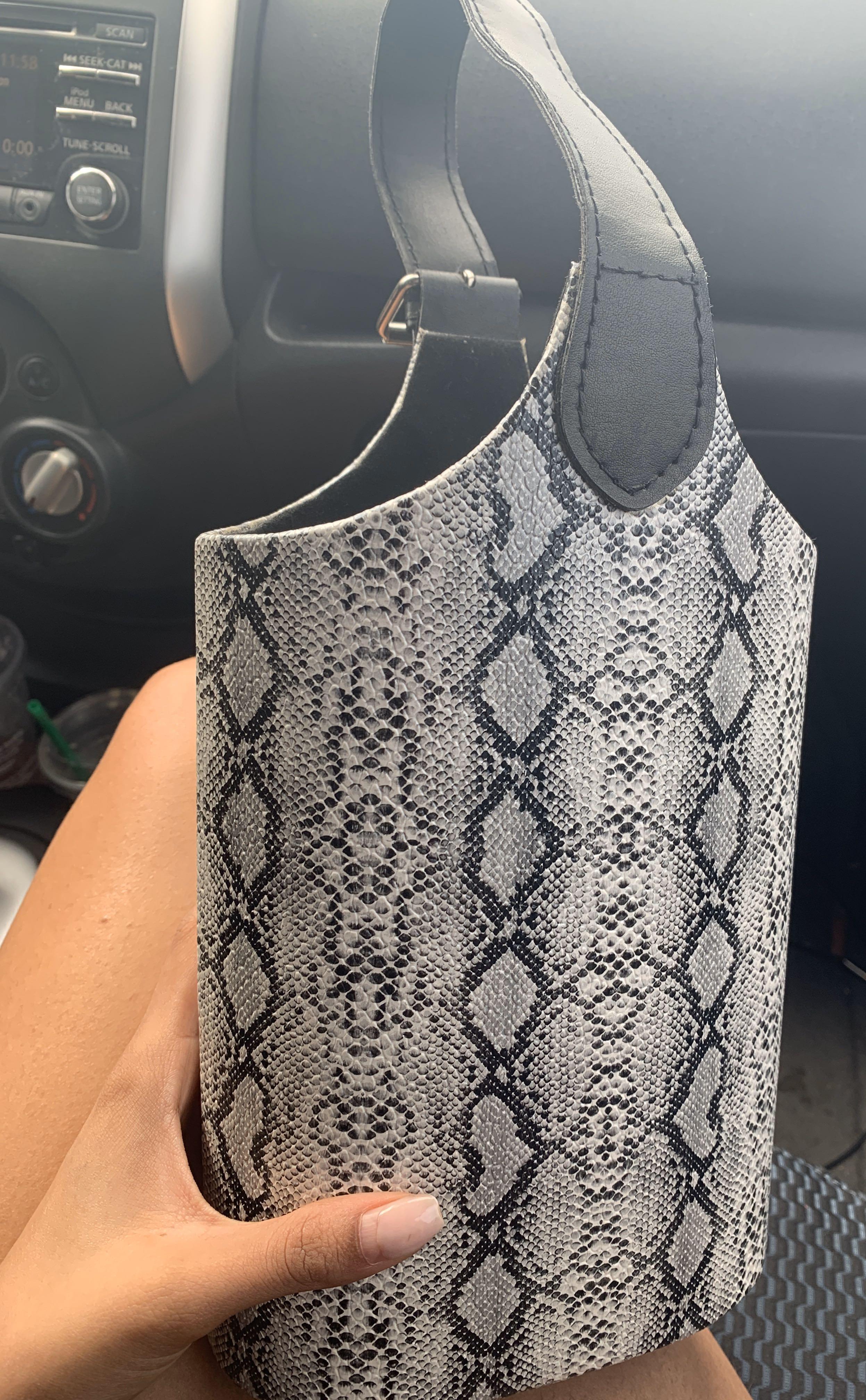 Snakeskin bucket bag