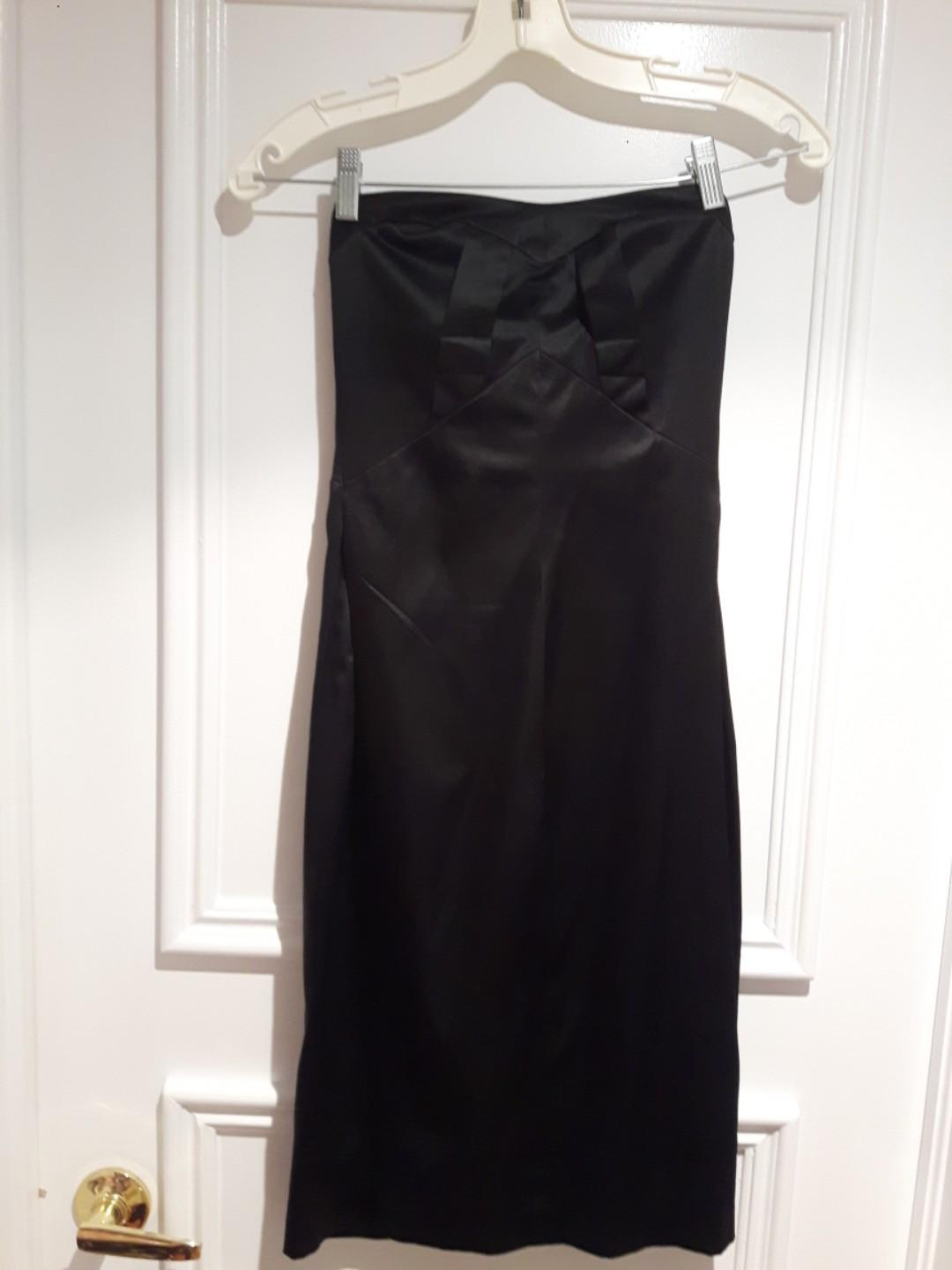 Strapless Black Dress fitted size Small (tagged as 34B)
