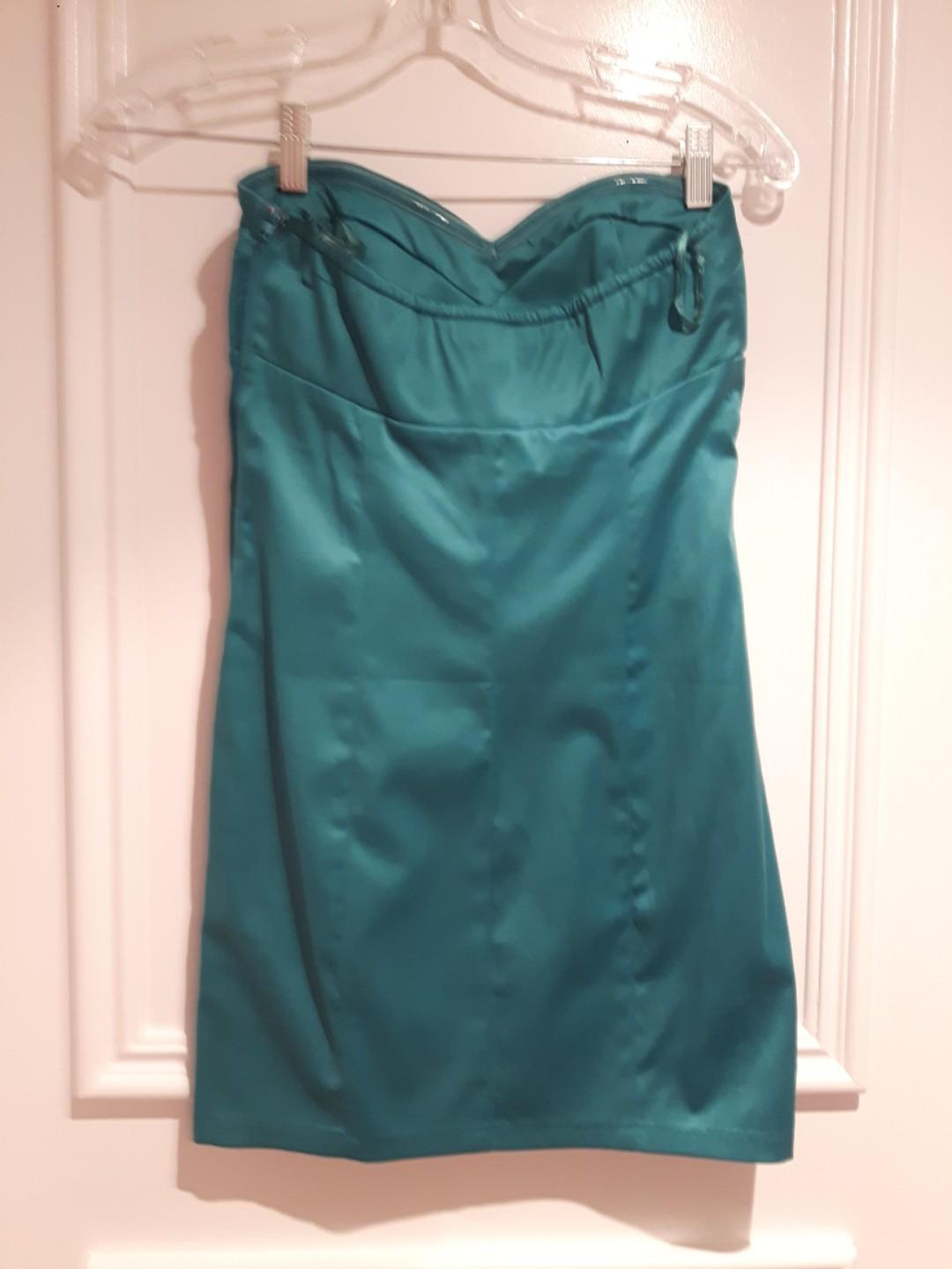 LOWERED:Strapless Dress Teal/Turquoise shaping bodycon Size Small Padded