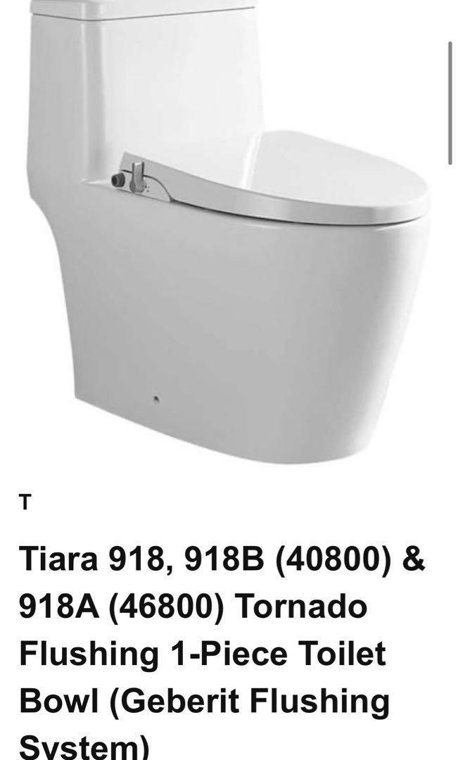 Toilet Bowl Tiara 918, 918B (40800) & 918A (46800) Tornado Flushing 1-Piece design (Geberit Flushing System)  *Contact us for best price