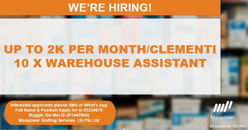 Up to $2K Per Month! 10 X Warehouse Assistants/3 months