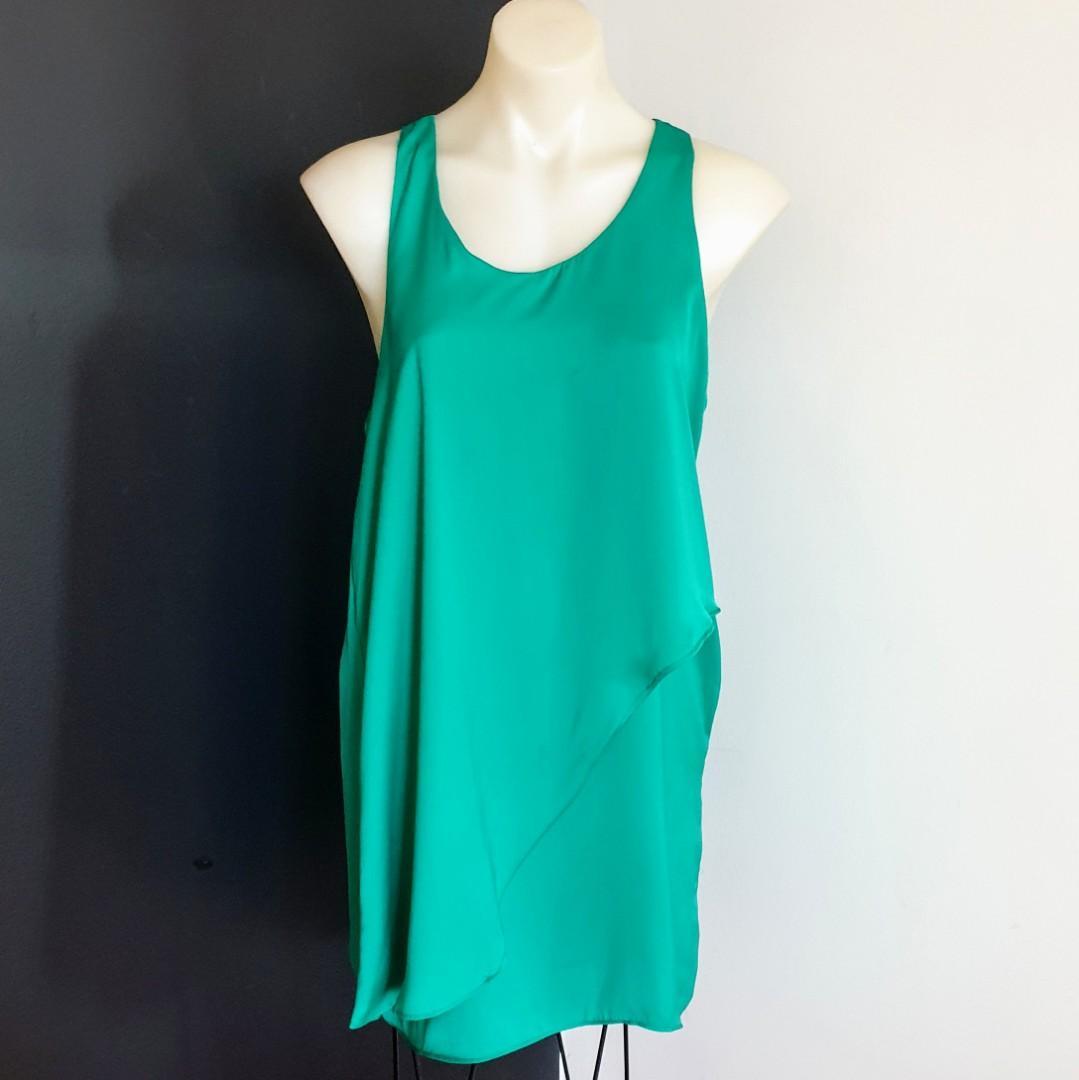 Women's size 12 'ZEITGEIST' Stunning emerald green cocktail shift dress- AS NEW