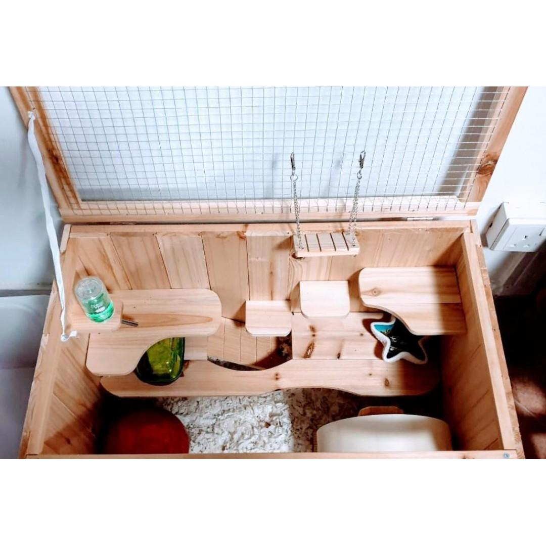 Wooden Hamster Cage set with included accessories [Barn style]