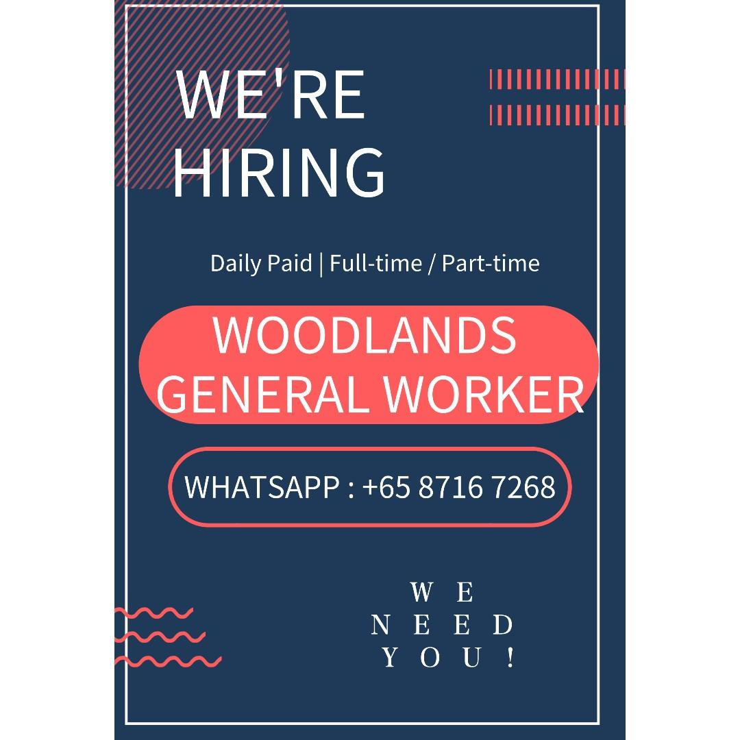Woodland General Worker | Part-time / Full-time | Daily Pay