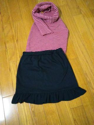 2件套(露背圍脖背心+魚尾短裙)