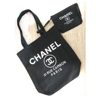 chanel authentic vip gift tote + pouch