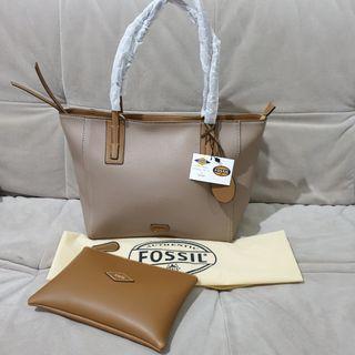 Fossil Tote Bag Tas Kerja Wanita Khaki Semi Premium Quality