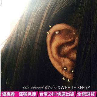 組合式耳骨耳環🚀歐美極簡個性 龐克搖滾多耳洞耳骨洞雙層彎鉤 耳針耳釘耳環耳飾