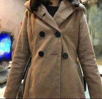 雙排釦 卡其色外套 大衣 連帽外套 秋冬外套