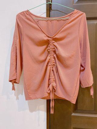九成新👛實拍快速寄出 抽繩雪紡上衣 藕粉色 七分袖 抽繩可調