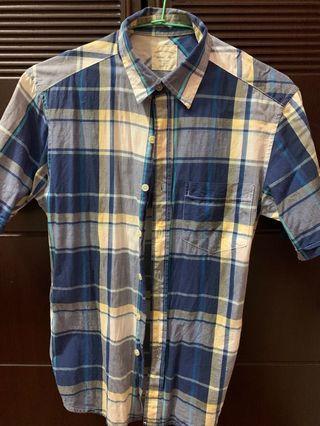 男 lativ 格紋短袖襯衫 s號