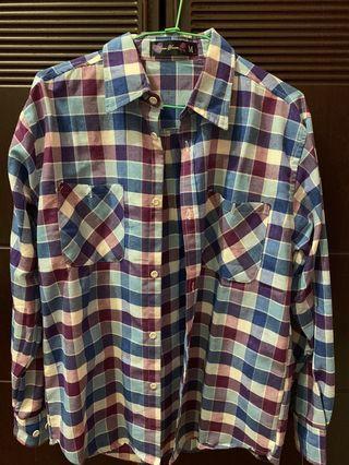 男 三件250💰格紋長袖襯衫 m號