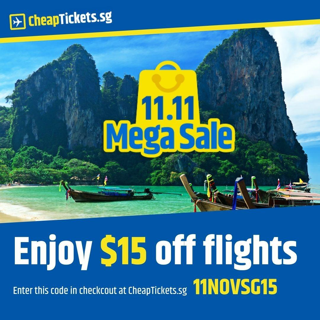 $15 Flight Discount to All Destinations on CheapTickets.sg