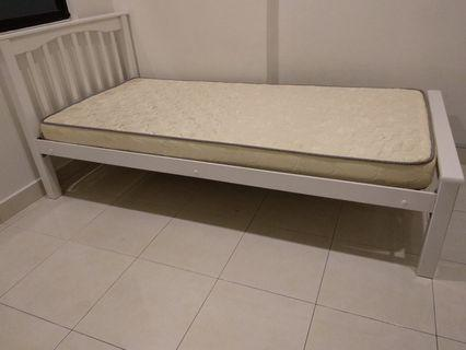 Solid White wooden Single bed full set new frame an mattress