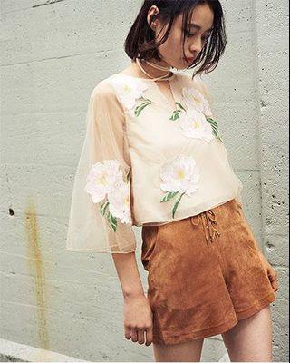 [二手 免運]日本正品 Snidel 麂皮綁帶短褲