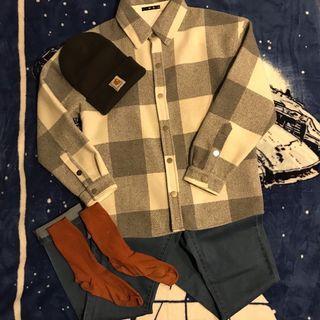 灰白格毛料襯衫外套(約男尺M)
