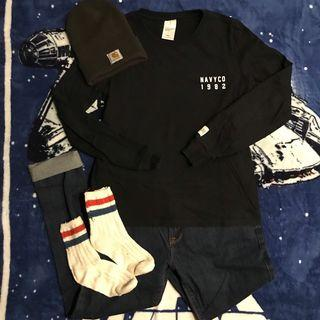 Navy Graphic Long Sleeve(S)
