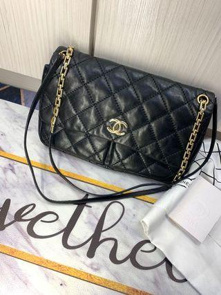 Chanel 淡金鏈三用包