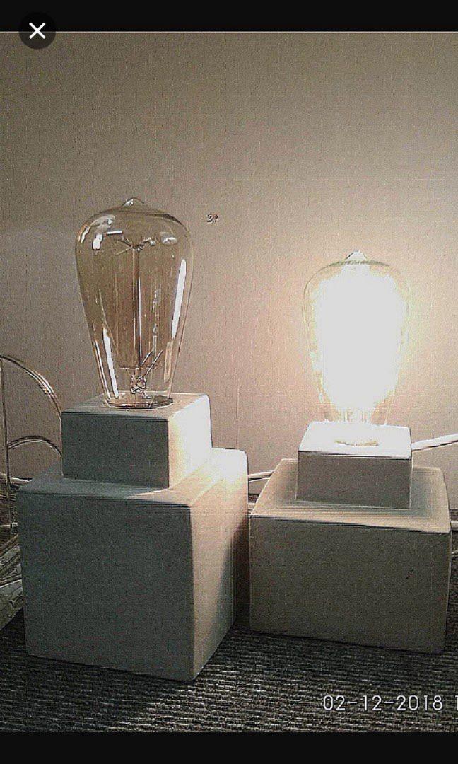 1x CONCRETE TABLE LAMP Light Bulb ( castlery crate IKEA lv ...