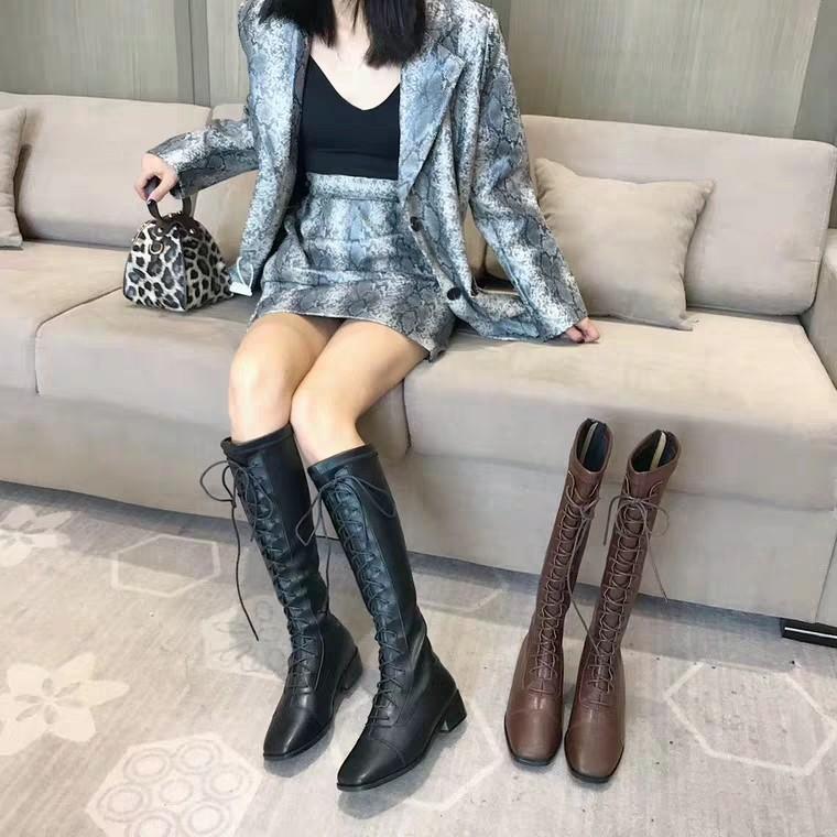 韓版高筒靴女長靴不過膝粗跟方頭繫帶騎士靴2019秋冬復古馬丁靴女
