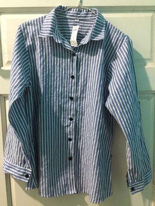 NEW Kemeja wanita biru garis striped stripe stripes shirt women size XL
