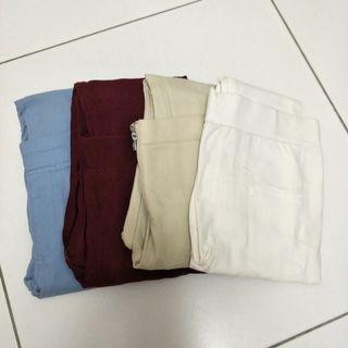 咖啡色 淺藍色 淺卡其 白色 酒紅色 色褲 黑褲 鉛筆褲 長褲 緊身褲 彈性褲 內搭褲 雪花牛仔褲