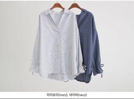 正韓🇰🇷條紋V領水袖襯衫 #幫朋友賣看看3