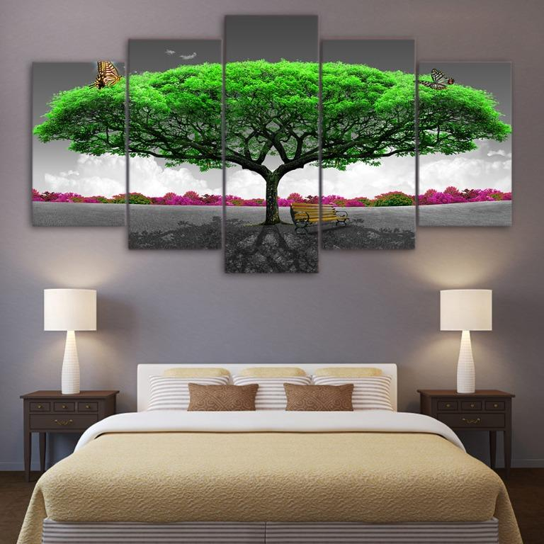 5 Panel Majestic Green Tree with Butterfly😊