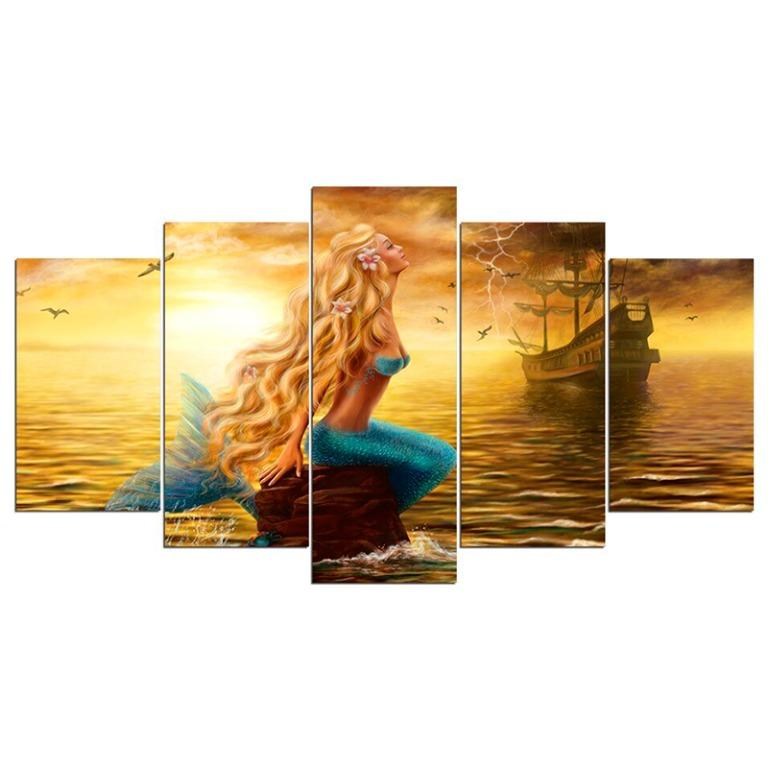 5 Panel Mermaid in Golden Sea Canvas Art😊