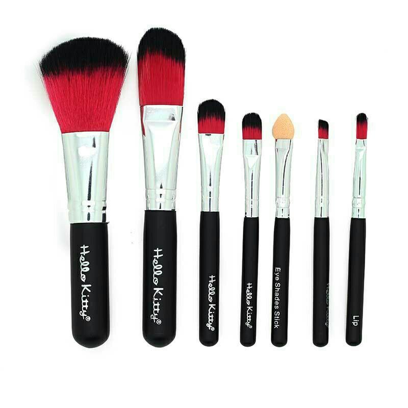 7 Pcs Hello Kitty Makeup Brushes Set #Black