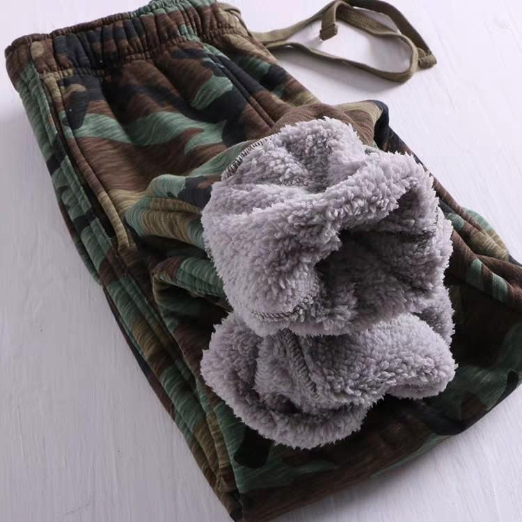 好看又溫暖 迷彩加絨保暖休閒褲男 冬季全棉加絨加厚收口衛褲潮男