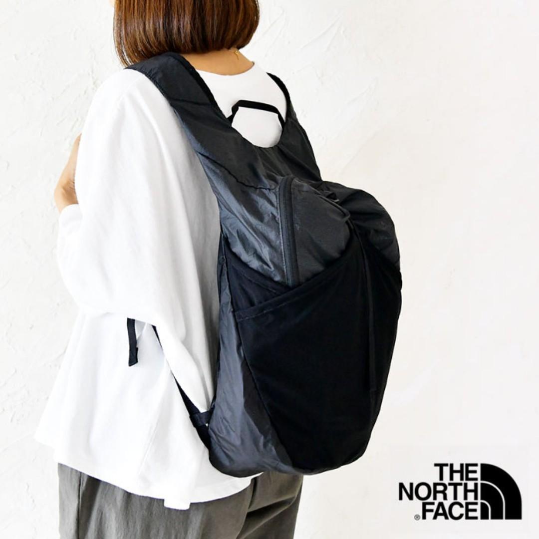 日本 The North Face 黑色尼龍布 Flyweight 可摺疊 運動型 17L 背囊