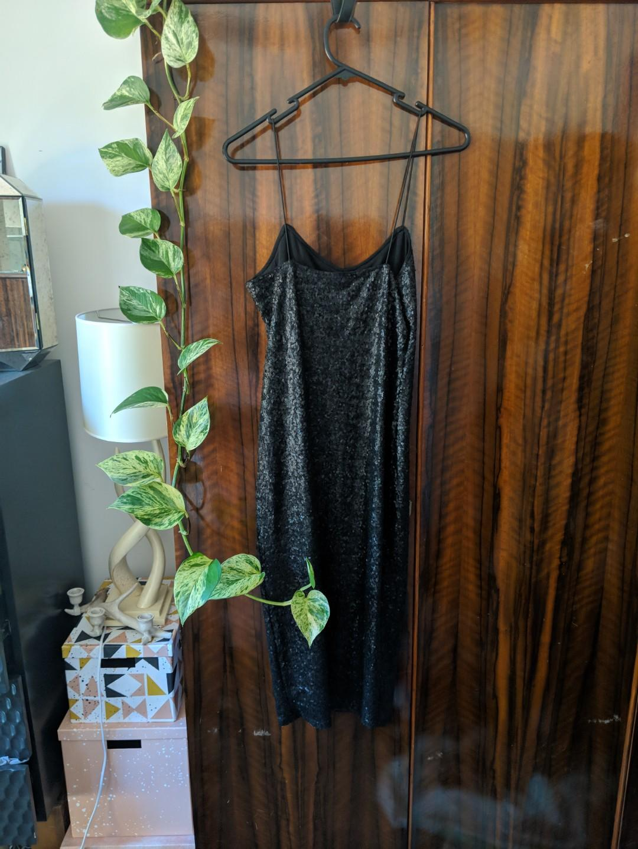 Asos midi sequin dress black
