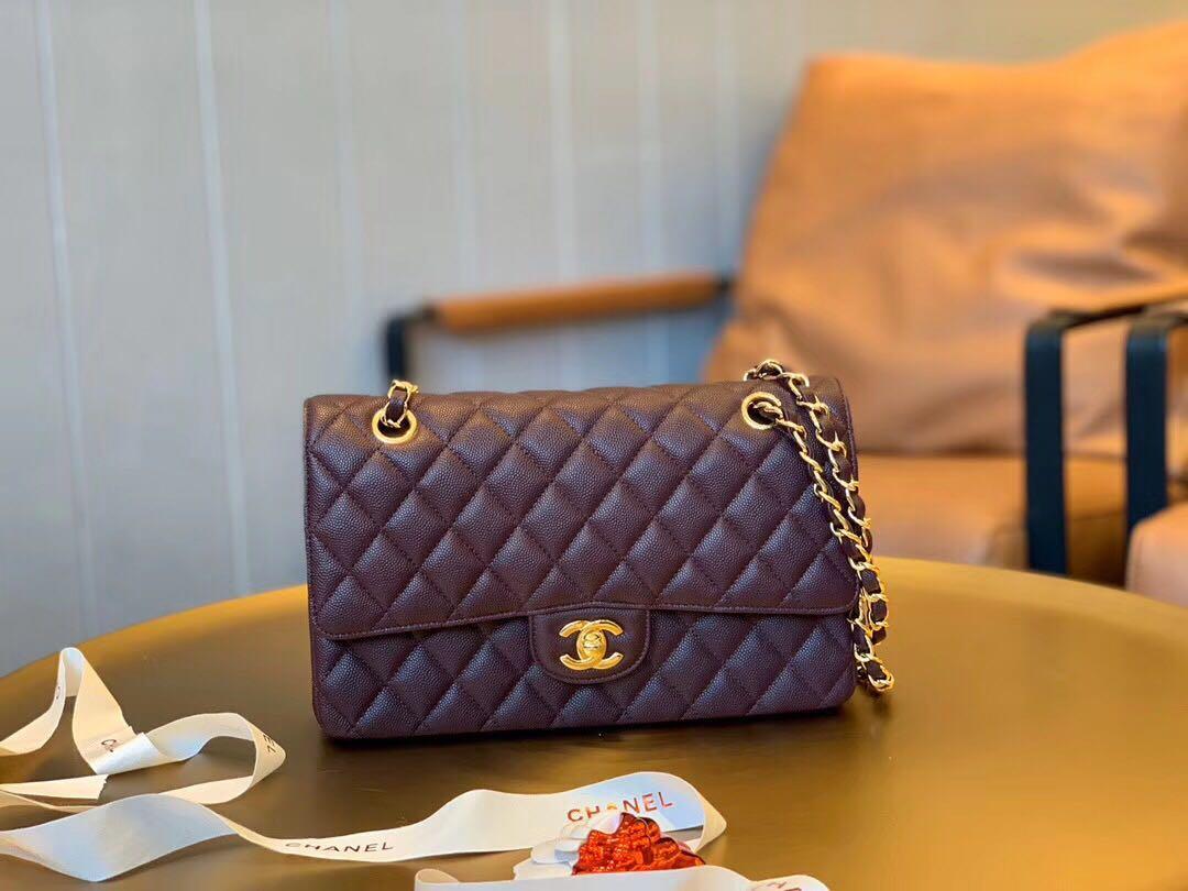 Chanel double flap classic caviar leather shoulder bag