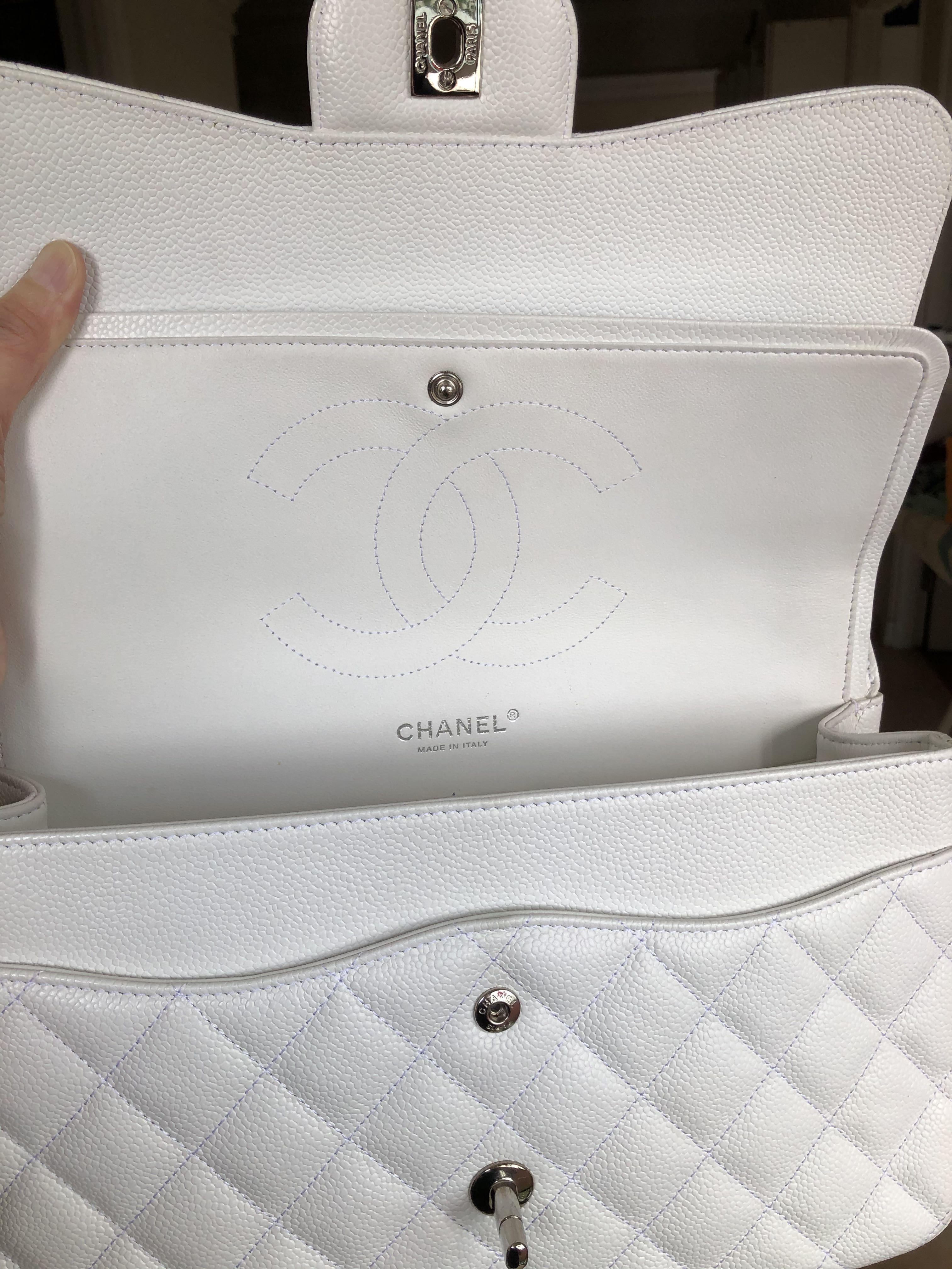 Chanel White Caviar Jumbo Double Flap (Silver Hardware)!